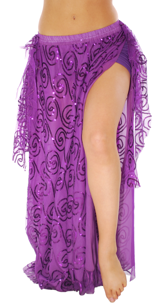 2-Layer PETITE Embroidered Belly Dance Costume Skirt - PURPLE