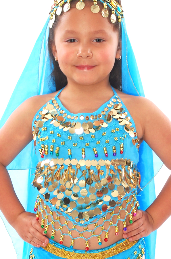 Little Girls Belly Dance Bollywood Costume Halter Top with Paillettes & Bells - BLUE TURQUOISE