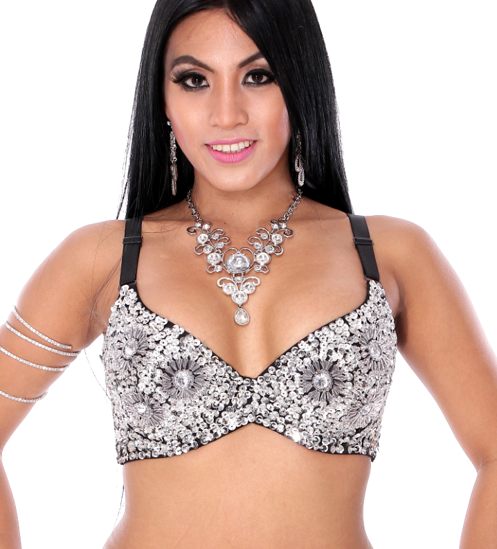 36 C/D Sequin Beaded Costume Bra on Black Base - SILVER