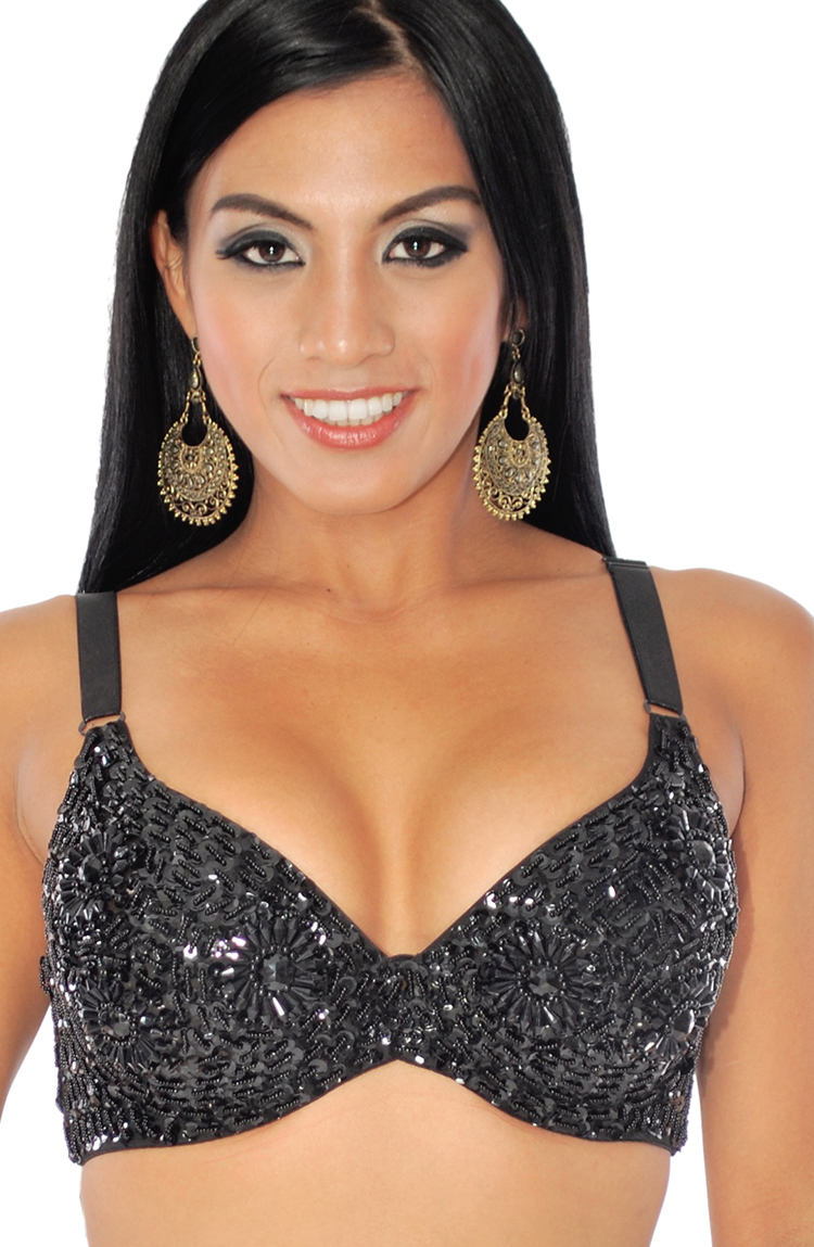 36 C/D Sequin Beaded Costume Bra on Black Base - BLACK