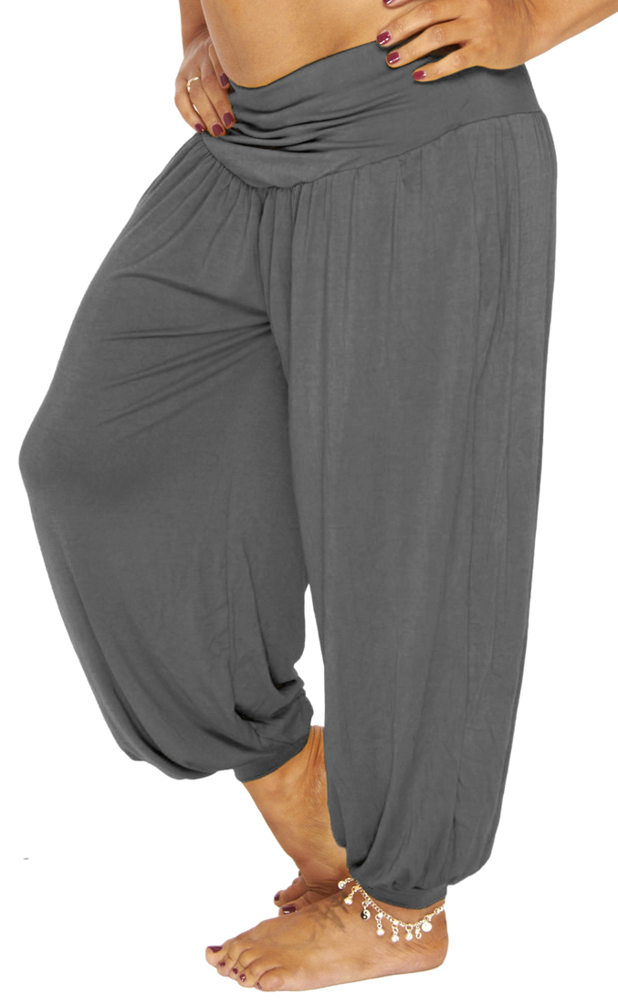 Comfy Stretch Harem Pants Grey
