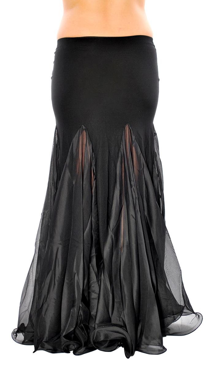 Trumpet Mermaid Skirt With Ruffles Amp Slits Black