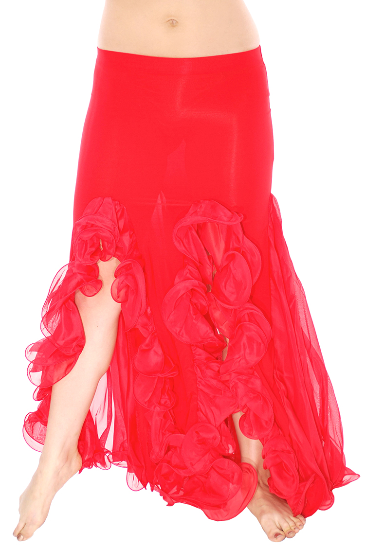 Trumpet Mermaid Skirt With Ruffles Amp Slits Red
