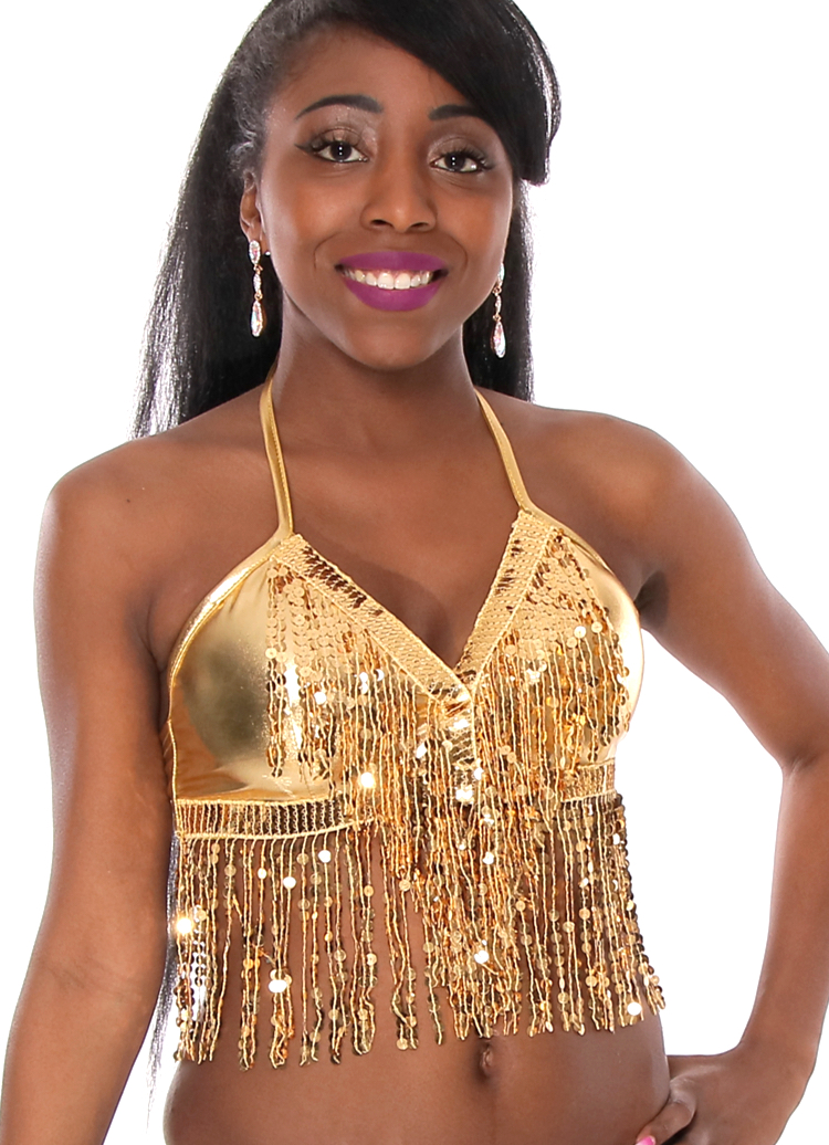 Sequin Fringe Metallic Stretch Dance Top - GOLD