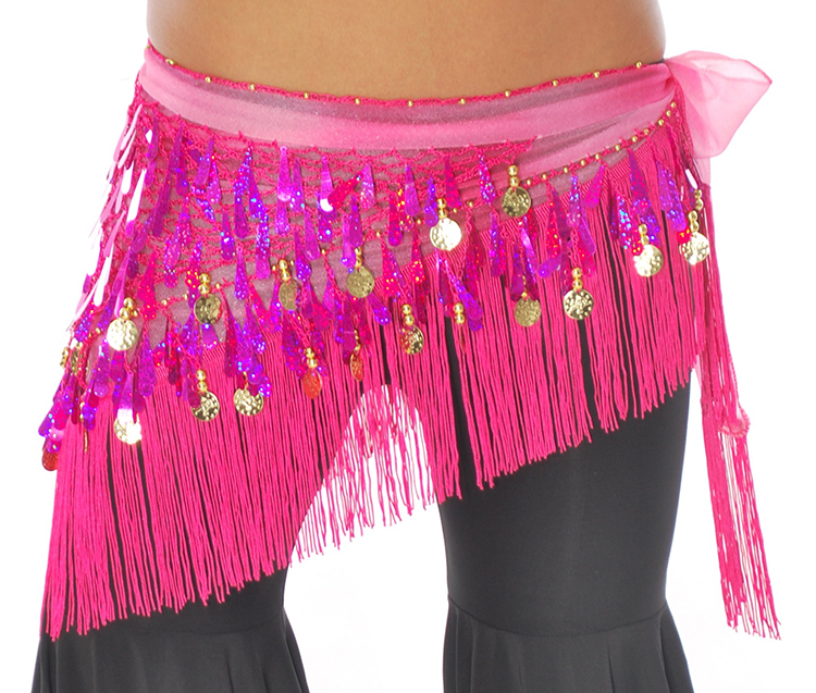 Tie-Dye Triangle Hip Scarf with Teardrop Paillettes, Fringe, & Coins - FUCHSIA
