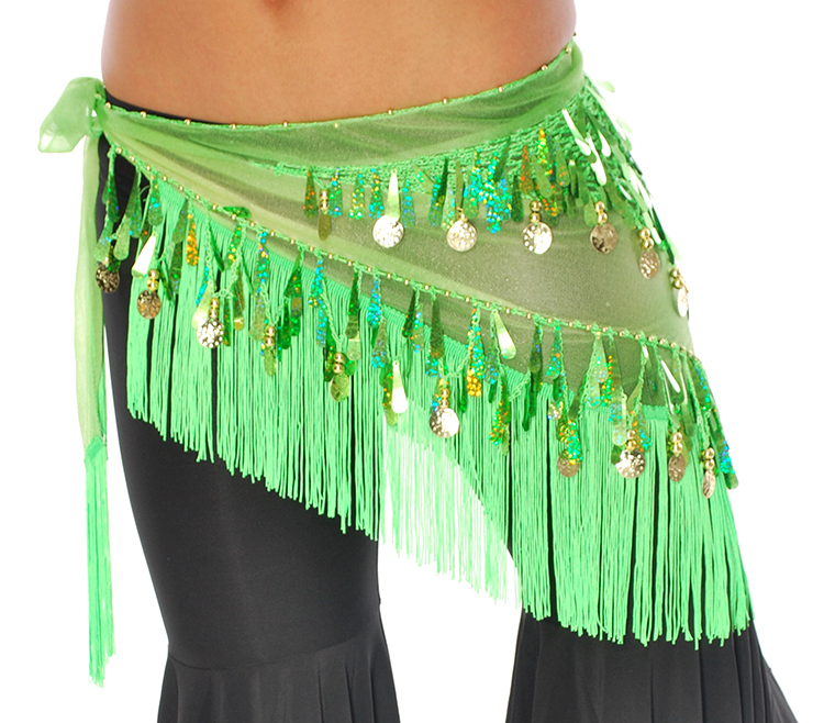 Tie-Dye Triangle Hip Scarf with Teardrop Paillettes, Fringe, & Coins - GREEN