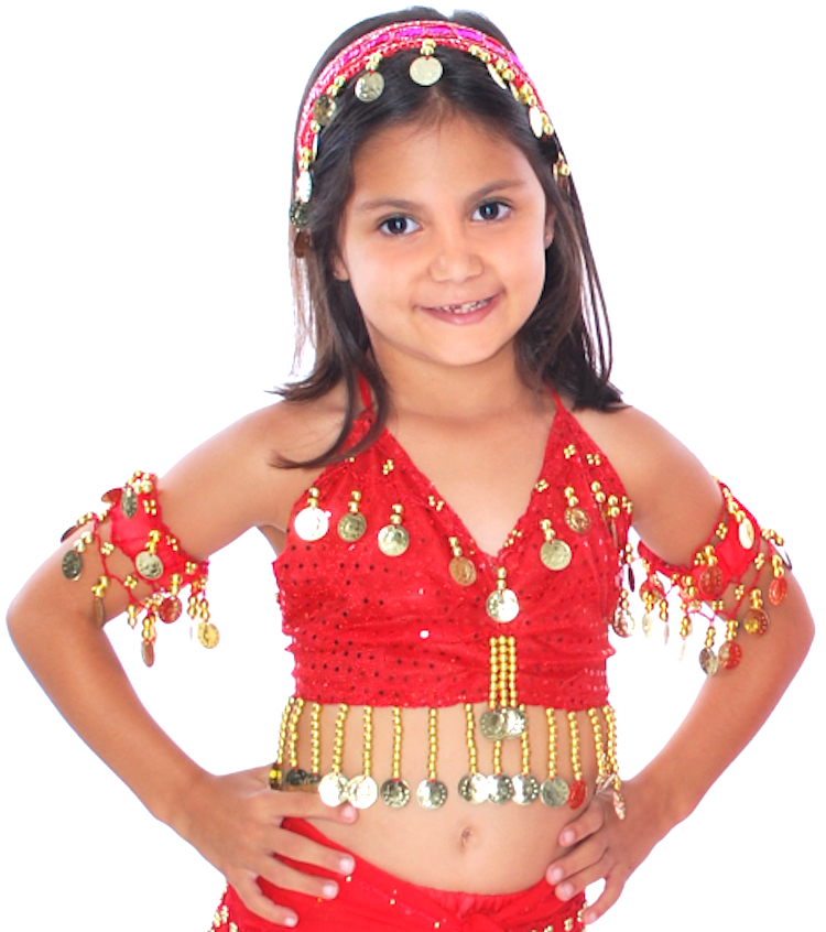 Kids Size Sparkle Dot Belly Dance Costume Top with Coins - RED / GOLD
