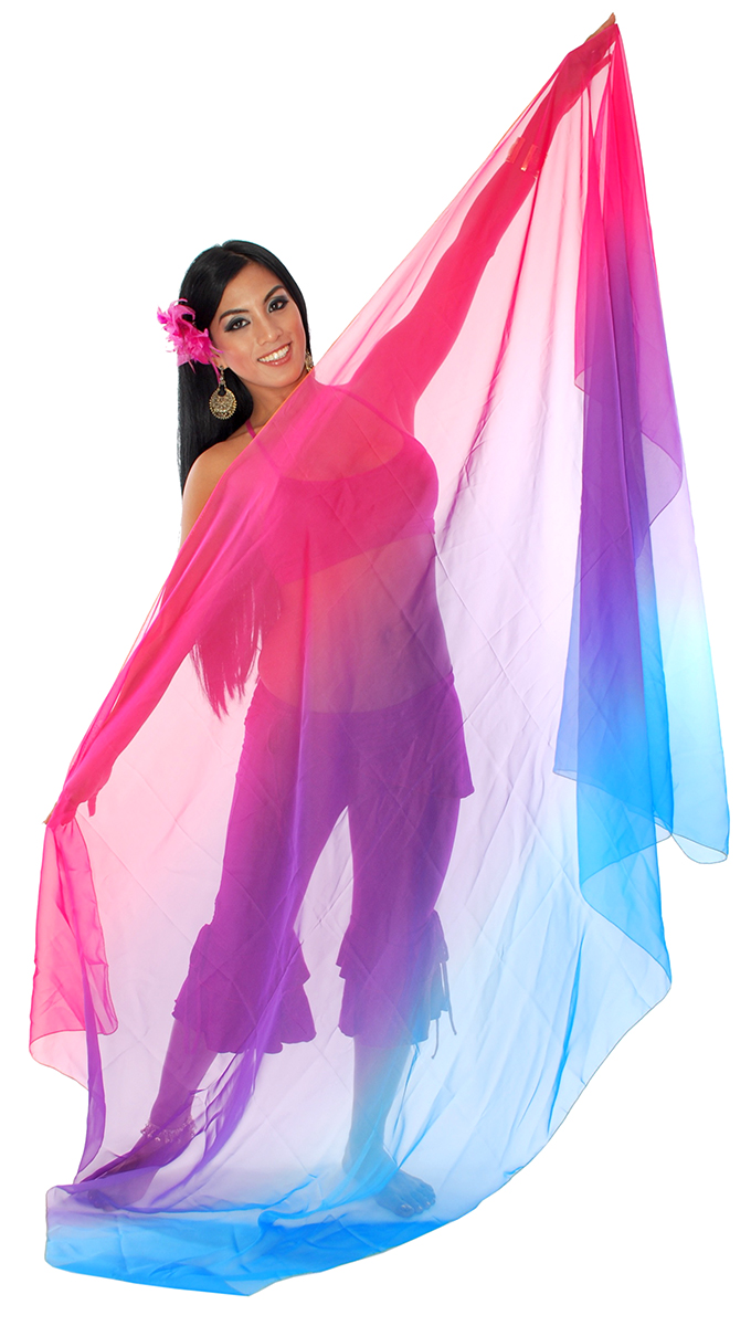 3-Yard Chiffon Ombre Belly Dance Veil - FUCHSIA / PURPLE / TURQUOISE