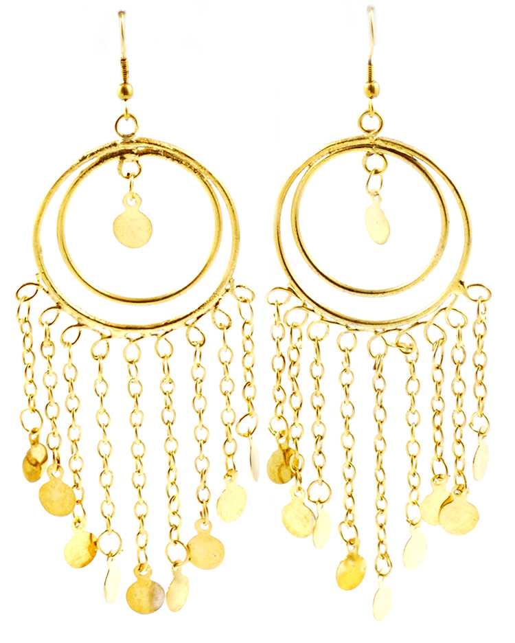 Double Hoop Belly Dance Costume Earrings with Faux Coins - GOLD