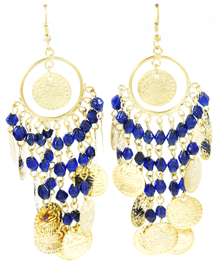 Belly Dance Costume Coin Earrings with Glass Beads - ANTIQUE GOLD / BLUE