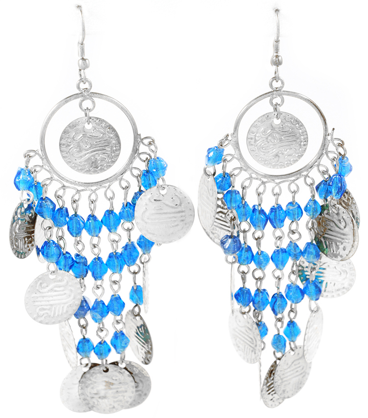 Belly Dance Costume Coin Earrings with Glass Beads - SILVER / TURQUOISE