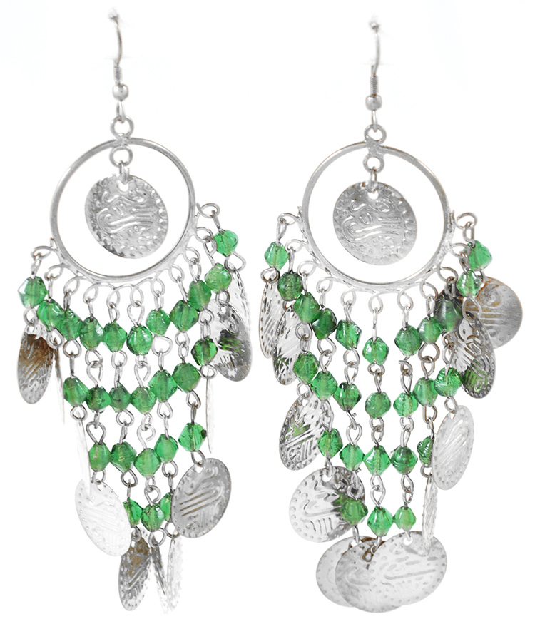 Costume Coin Earrings with Glass Beads - SILVER / GREEN
