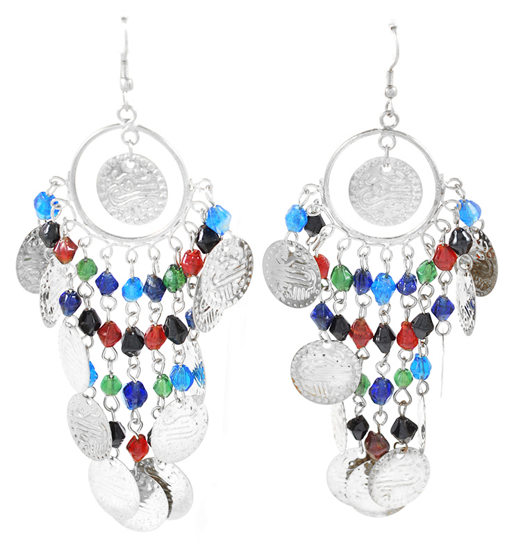 Belly Dance Costume Coin Earrings with Glass Beads - SILVER / MULTI