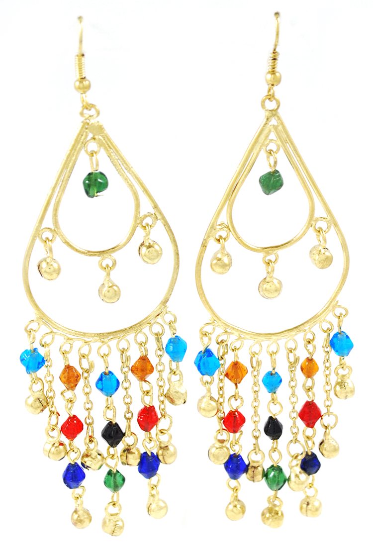 Golden Teardrop Beaded Belly Dance Earrings with Bells - MULTI