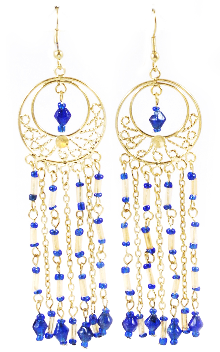 Gold Filigree Beaded Dangle Belly Dance Earrings - BLUE
