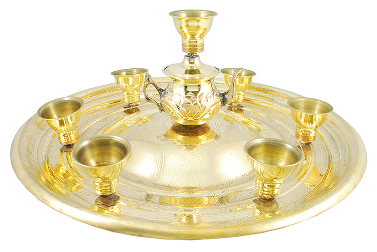 Brass Tea Set Balancing Tray from Egypt - GOLD