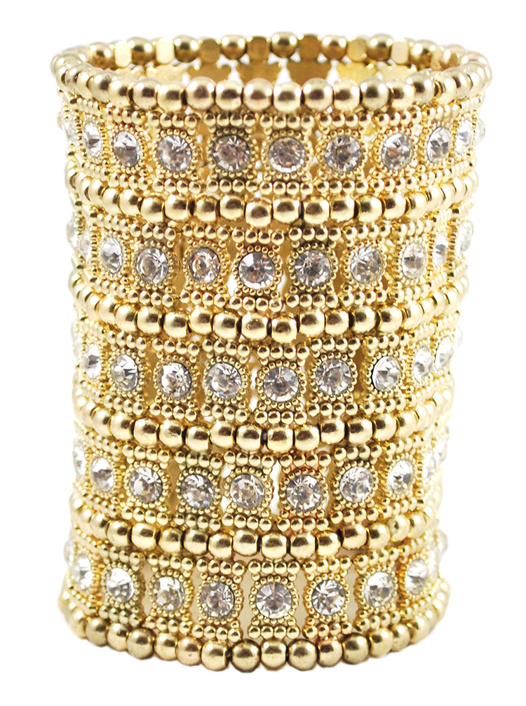 Large 5-Row Crystal Stretch Cuff Bracelet - GOLD