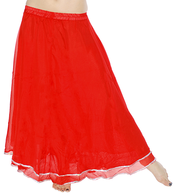 2-Layer Chiffon Belly Dance Skirt with Trim - RED / SILVER