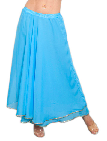2-Layer Chiffon Belly Dance Skirt with Trim - BLUE TURQUOISE / SILVER
