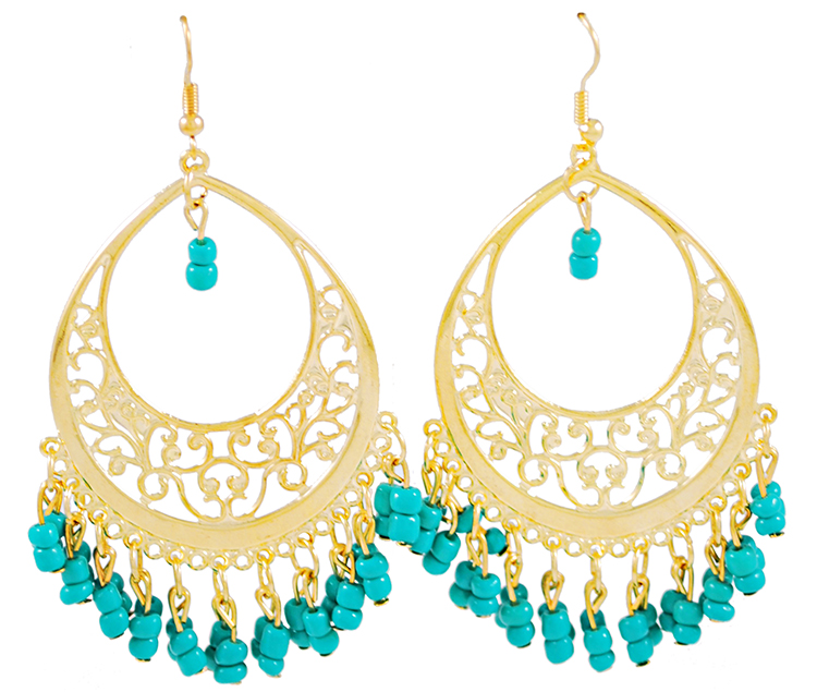 Gold Filigree Hoop Earrings with Beaded Accents - AQUA TURQUOISE
