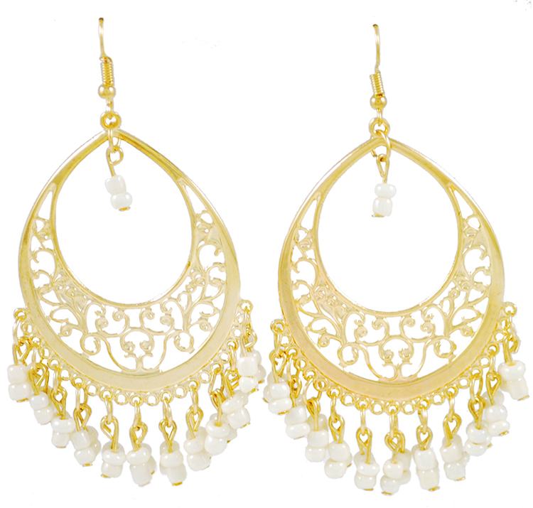 Gold Filigree Hoop Earrings with Beaded Accents - WHITE