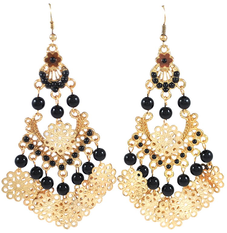 Arabesque Belly Dance Earrings with Beads & Filigree Accents - BLACK / GOLD
