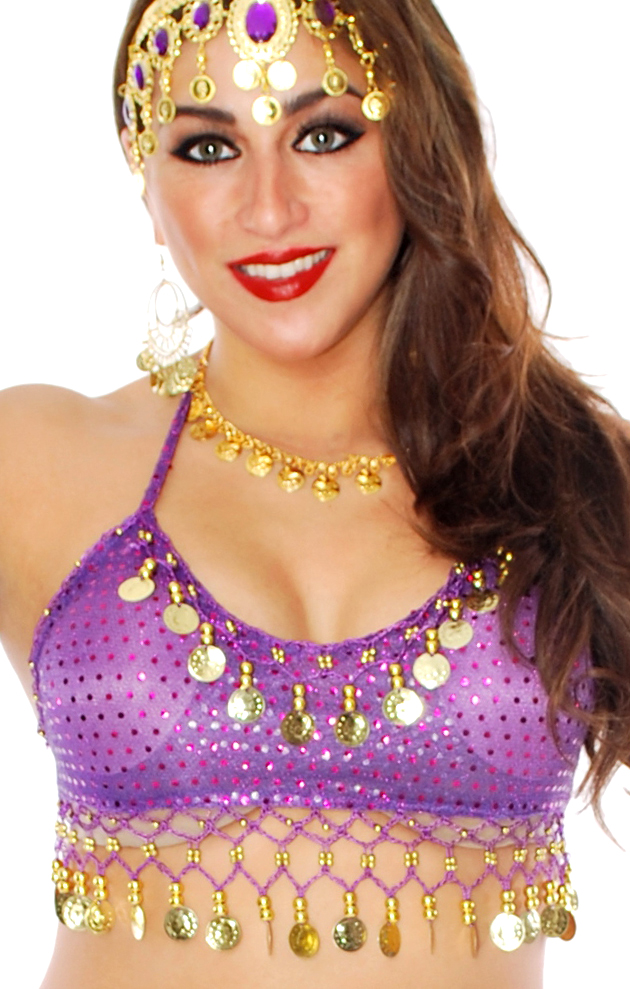 Sparkle Dot Belly Dance Costume Top with Coins - PURPLE / GOLD