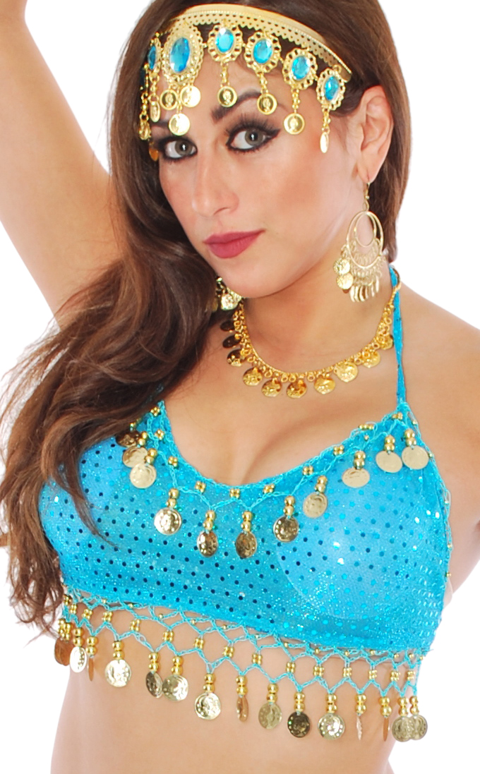 Sparkle Dot Belly Dance Costume Top with Coins - TURQUOISE / GOLD