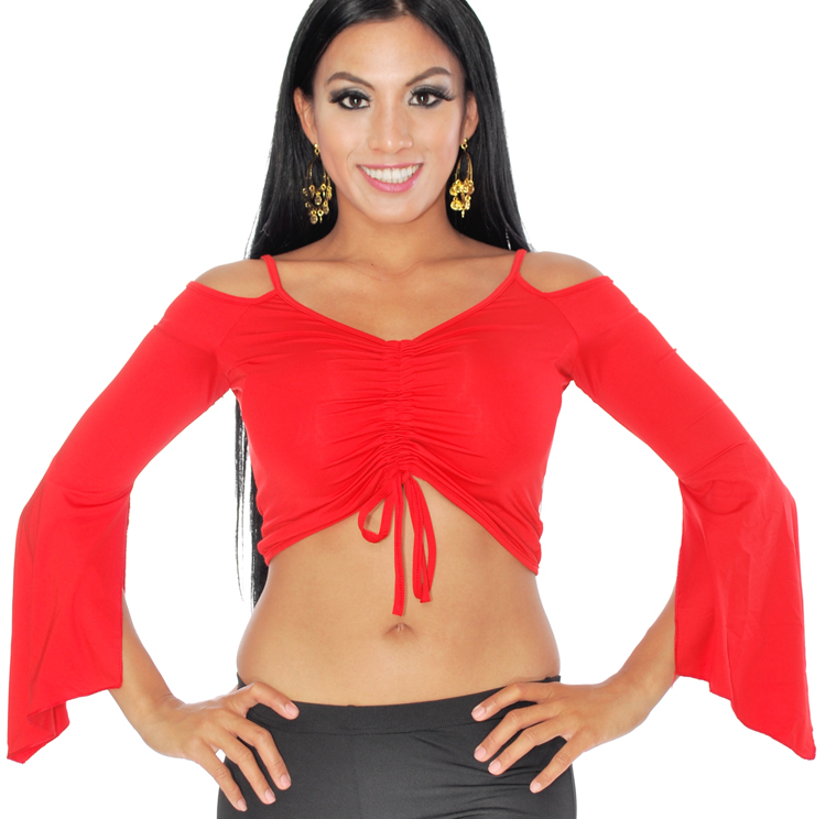 Off-the- Shoulder Tribal Belly Dance Half Top with Drape Sleeves - RED