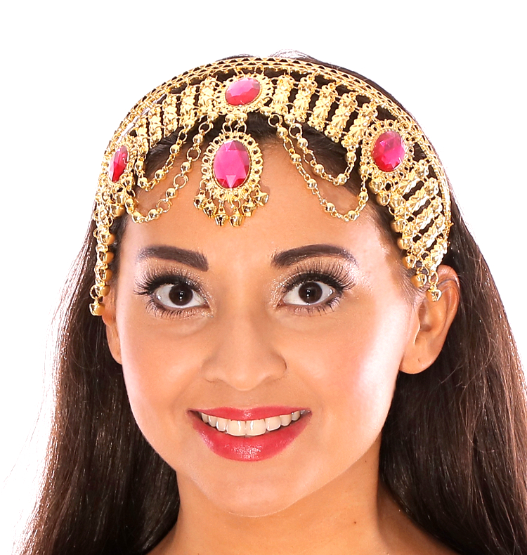 Arabian Nights Belly Dance Costume Headband with Faux Jewels - FUCHSIA