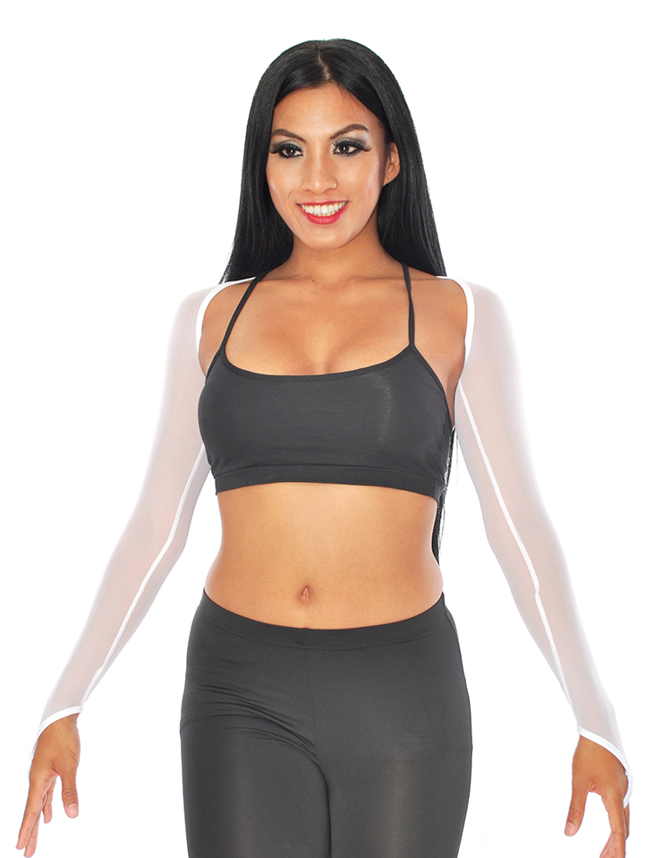 Long Sleeve Mesh Shrug with Finger Loops - WHITE