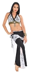 Tribal Fusion Studded Lace Pants Set - BLACK / WHITE