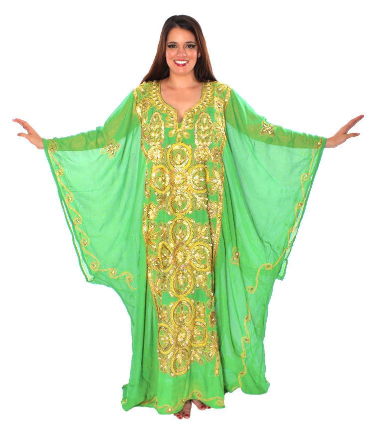 Traditional Bright Green and Gold Khaleeji Thobe Dress at Bellydance.com 6673c5ac8