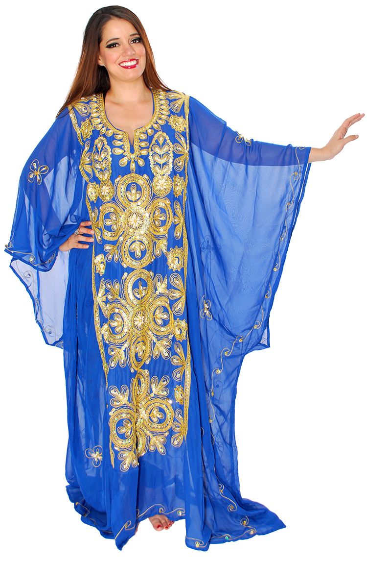 CAIRO COLLECTION: Traditional Khaleeji Thobe Dress - BLUE / GOLD