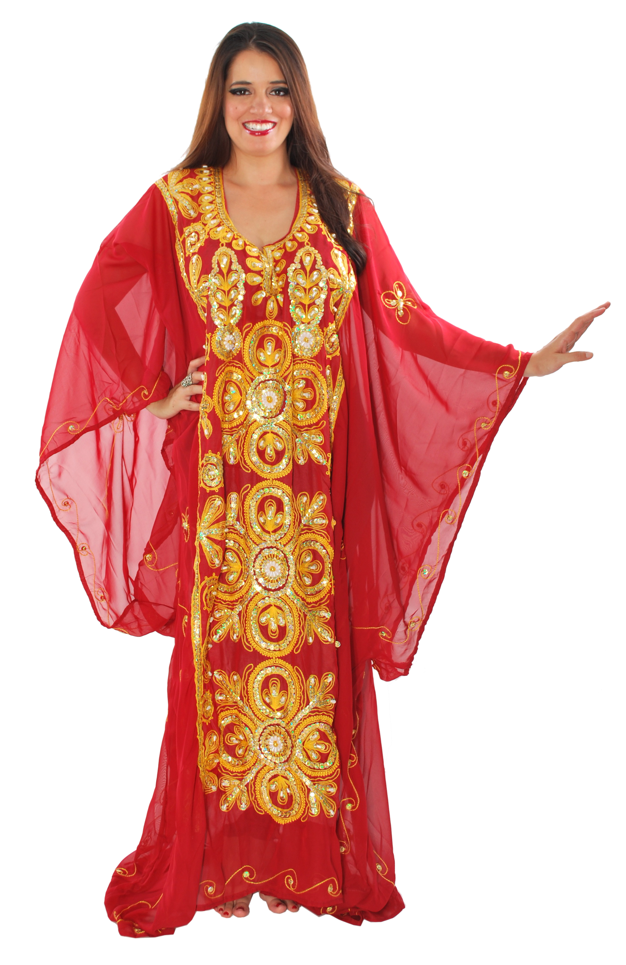 CAIRO COLLECTION: Traditional Khaleeji Thobe Dress - BURGUNDY / GOLD