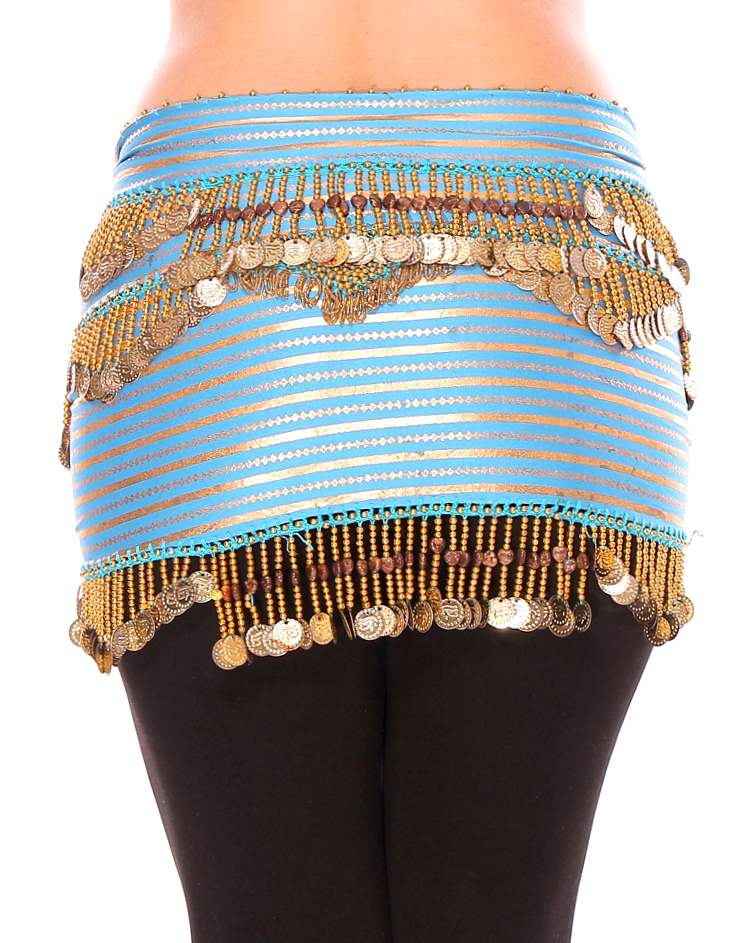 CAIRO COLLECTION: Metallic Striped Print Beaded Coin Hip Scarf - TURQUOISE / GOLD