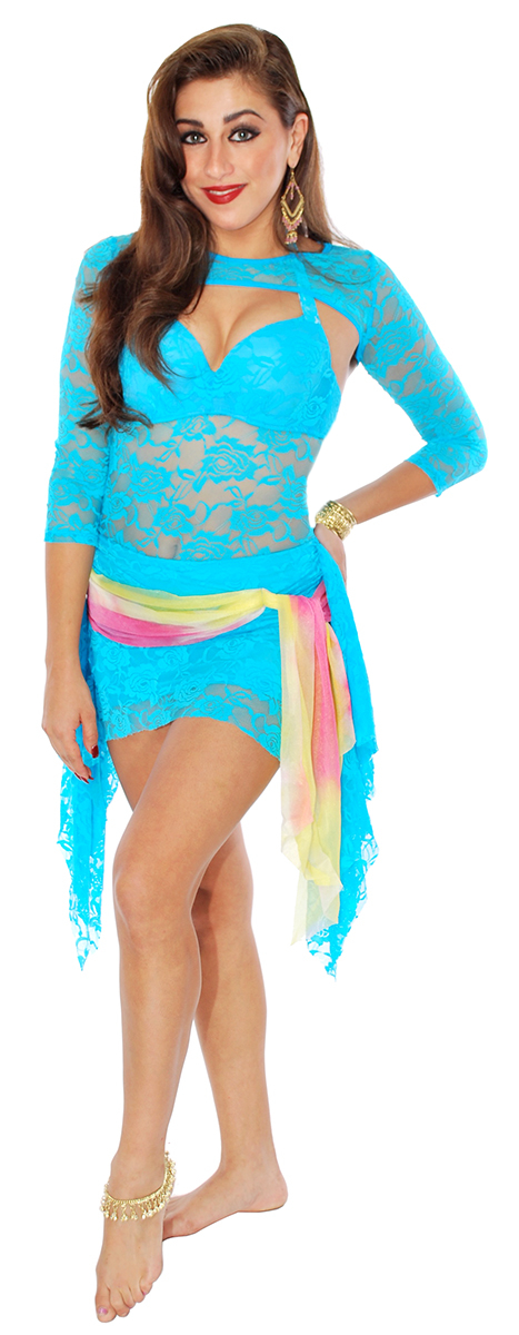 PETITE 3-Piece Lace Dance Costume with Shrug - TURQUOISE