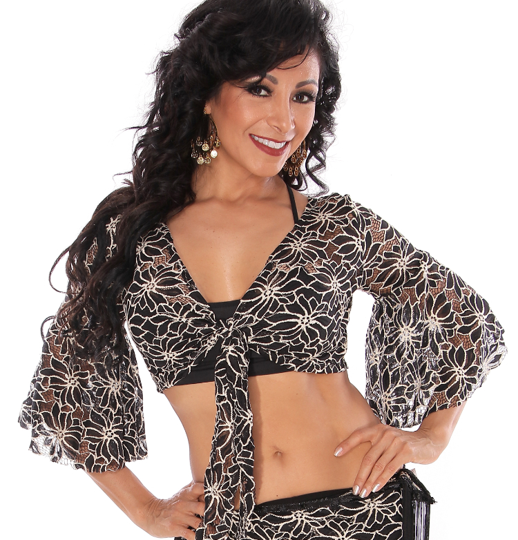 2-Tone Lace Bell Sleeve Choli Top - BLACK