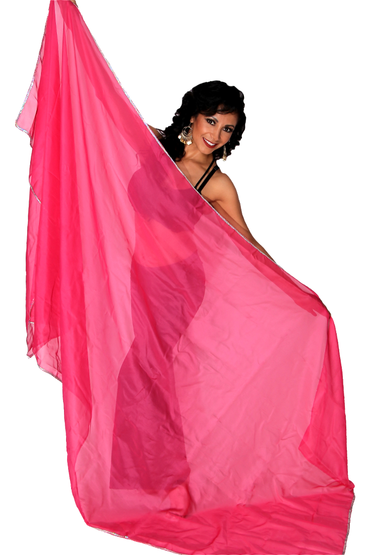 3 Yard Chiffon Belly Dance Veil with Sequin Trim - ROSE PINK / SILVER