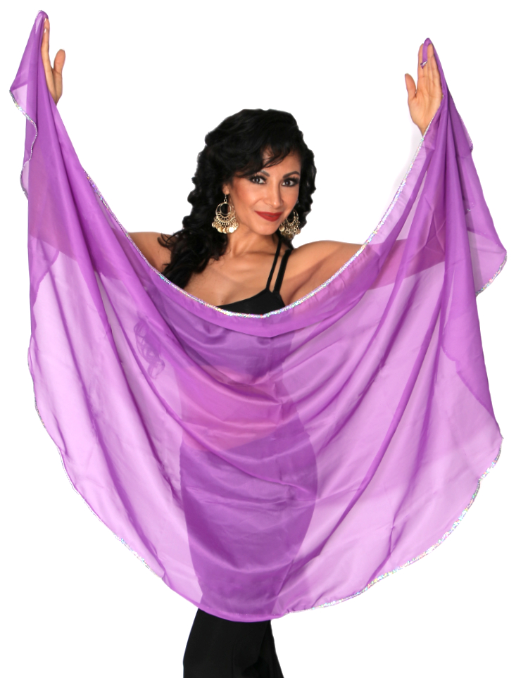 Petite Semi-Circle Chiffon Belly Dance Veil with Sequin Trim - PURPLE / SILVER