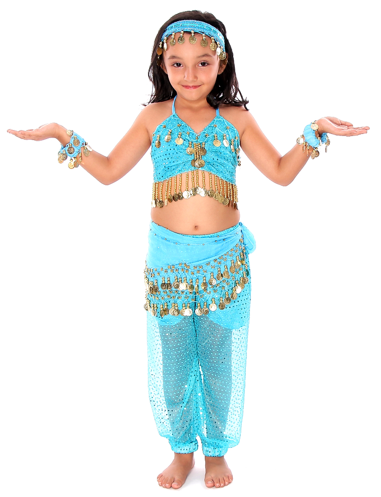 d6dc27e329ef 6-Piece Sparkle & Shine Genie Belly Dancer Kids Costume in Turquoise