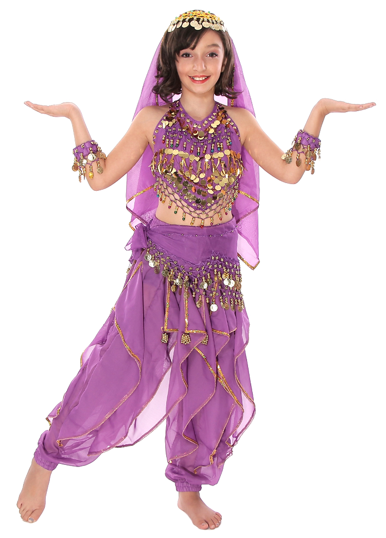 Little Girls Endless Waves Arabian Princess Bollywood Costume - PURPLE