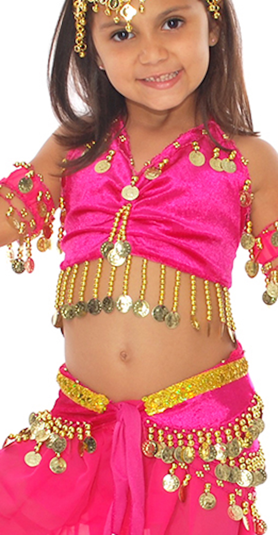 Little Girl's Velvet Belly Dance Costume Top and Hip Scarf Set - ROSE PINK