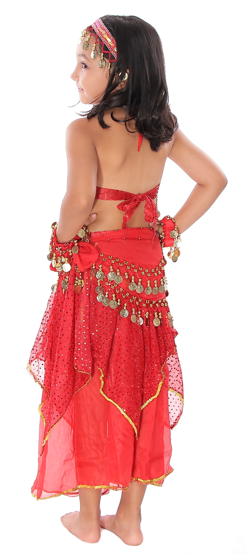 b5dac09852c2 Little Girls Shimmer & Sparkle Belly Dance Costume with Coins - RED. Tap to  expand. Model: Karly