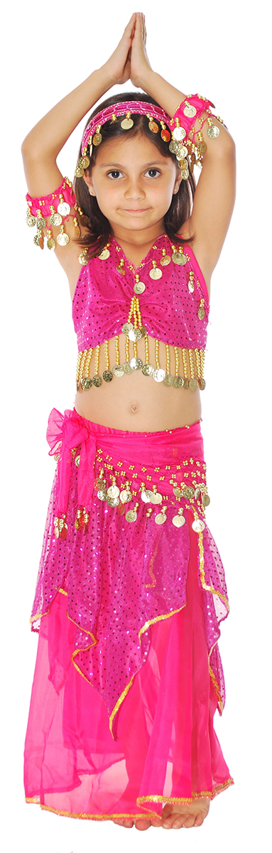 9d7aab86e743 Little Girls Shimmer & Sparkle Belly Dance Costume with Coins - FUCHSIA.  Touch to zoom. Model: Alina