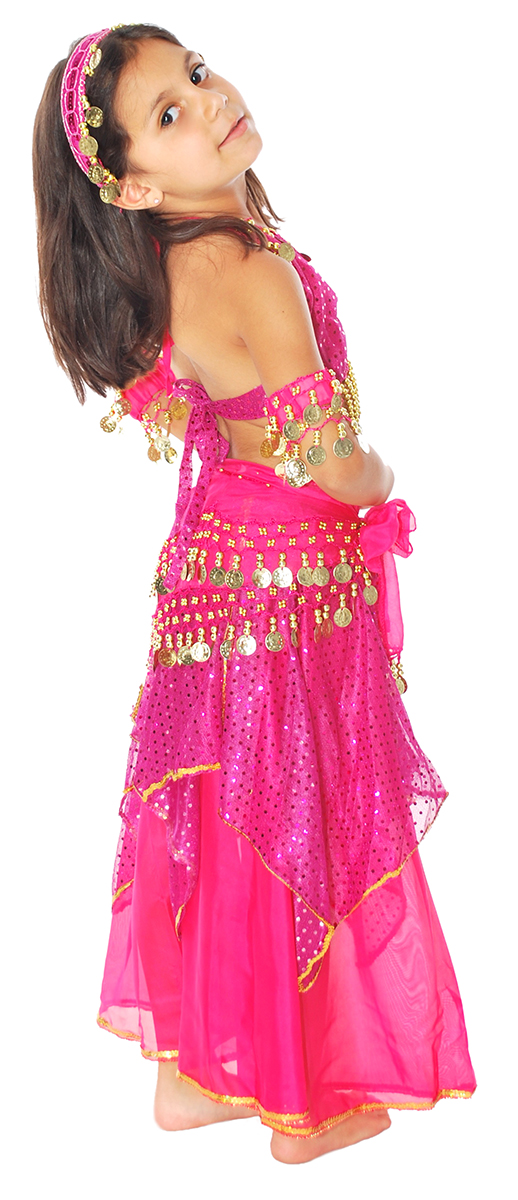 3a3f4789e Little Girls Shimmer and Sparkle Fuchsia Belly Dance Costume with Coins