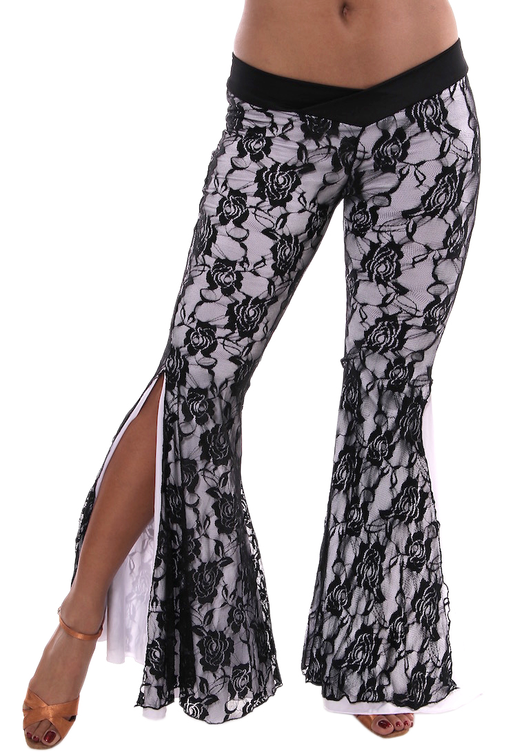 2-Layer Lace Bell Bottom Tribal Fusion Belly Dance Pants - BLACK / WHITE