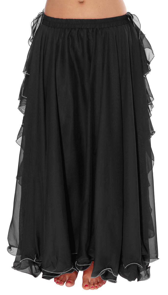de2a8d224972 ... Chiffon Belly Dance Skirt with Ruffle Fringe - BLACK. Touch to zoom ·  image; image; image; image