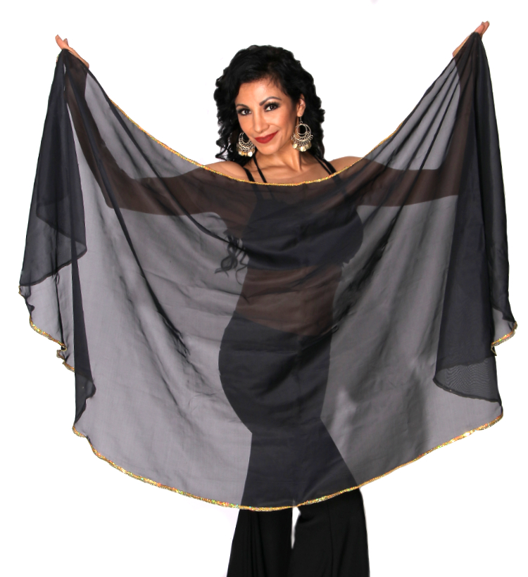 Petite Semi-Circle Chiffon Belly Dance Veil with Sequin Trim - BLACK / GOLD