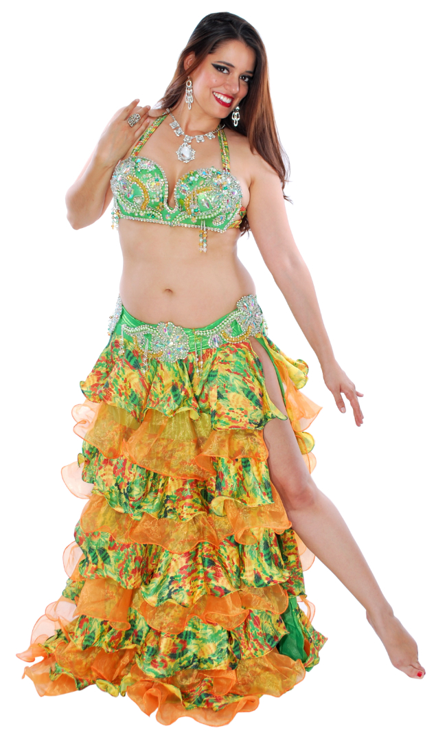 CAIRO COLLECTION: Professional Belly Dance Costume from Egypt - GREEN FLORAL
